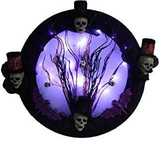 Gothic Decor Halloween Lighted Wreath with Voodoo Skull Top Hats, Creepy Decorations, Purple Bats, Custom Made with Black Mesh. LED Lights Up The Spider Web to Illuminate a Spooky Full Moon.