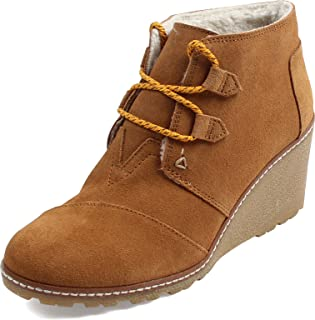 Toms Womens Desert Wedge High Boot Wheat Suede/shearling/faux Crepe Wedge 12 B(M) US