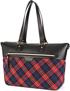"Ladies Laptop Tote Bag 15.6 Inch,Stylish Checkered Multi-Pocket Travel Business Casual Shopping Shoulder Bag Carrying Briefcase Handbag for Women 13 14 15"" Laptop Notebook MacBook Computer,Red"
