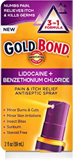 Gold Bond Pain & Itch Relief Antiseptic Spray with 4% Lidocaine, 2 Ounce Spray Bottle (Pack of 2)