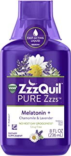 Vicks ZzzQuil Pure Zzzs Melatonin Liquid Sleep-Aid with Chamomile, Lavender, Valerian Root and Lemon Balm, 1mg per Serving, 8oz