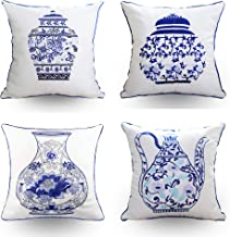 Hodeco Embroidery Throw Pillow Covers 18x18 Inches Decorative Floor Pillows Cover for Couch 100% Cotton Cushion Cover Thro...