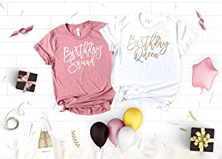 Funny Birthday Party Shirts for Women, 21st Birthday Shirts, Birthday Queen, Girl and Birthday Squad Soft Crew Neck and V-Neck T-Shirts for the Birthday Girl, 30th, 40th, 50th Birthday