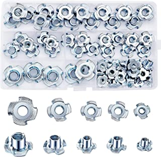 M3//M4//M5//M6//M8 LAITER 102 pcs T-Nuts Four-Pronged Tee Nuts Zinc Plated Threaded Insert T-Nuts with Plastic Box Assortment Sizes Nuts for Woodworking Furniture Installation Repairing