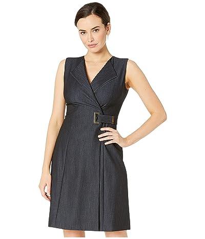 Calvin Klein Denim Faux Wrap Dress (Blue) Women