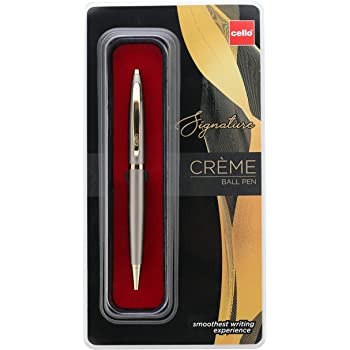 Cello Signature Creme Ivory Ball Pen - Blue | Premium metal pens| smooth writing experience | Ideal for gifting occasions