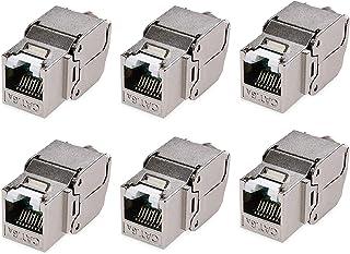Cable Matters UL-listad 6-pack RJ45 skärmad Cat6A Keystone Jack med integrerad slutare