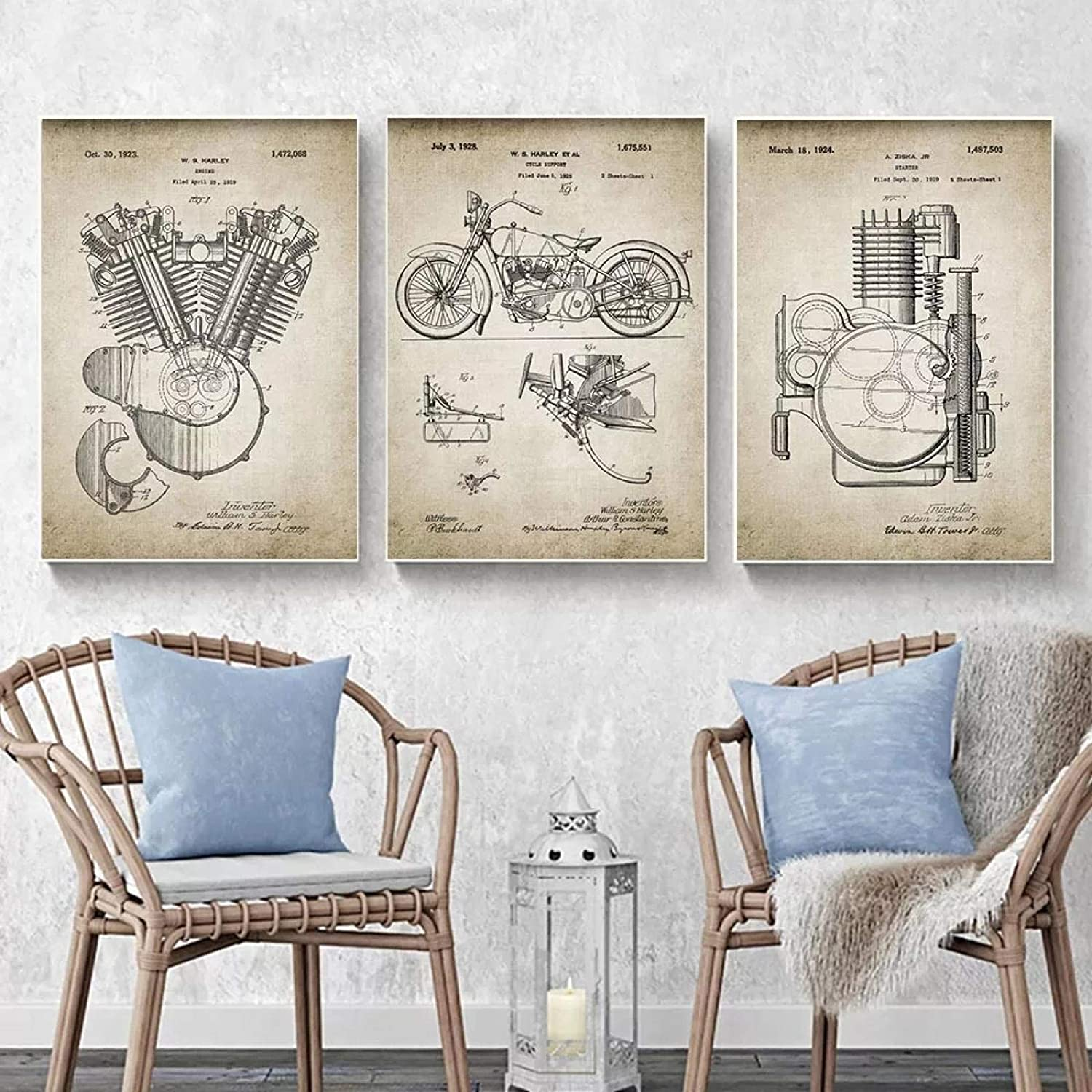 Engine Patent Vintage Prints Poster Artwork Canvas Motorcycle Animer and price revision Ar Nippon regular agency