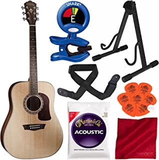 Washburn Heritage Series HD10S Dreadnought Acoustic Guitar with Stand, Strap, Tuner, and Accessory Bundle