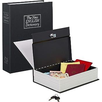 Langtor Caja Fuerte para Libros con Cerradura de Combinación, Caja Fuerte Portátil, Ideal para Guardar Dinero, Acero(Grande, Negro): Amazon.es: Bricolaje y herramientas