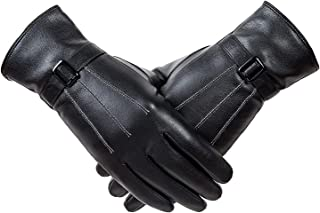 Winter women's classic leather touch screen texting plus velvet warm driving leather gloves (Cashmere Lining)