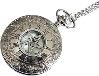Pentagram Pocket Watch Necklace,Pentacle Pendant,Antique Gun Black Charm Pocket Watch Necklace