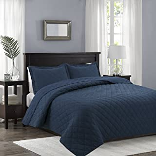 Fade,Stain,Shrink,Wrinkle Resistant Everest Supply Oversize King,Cal King Box Stitch Blue Color Quilted Bedspread Coverlet 118 by 106 inches Plus 2 King Shams 20 by 36 inch Hypoallergenic,Reversible