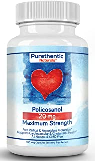 Sponsored Ad - Policosanol 20mg, 100 Vcaps, Purethentic Naturals (1 Bottle)