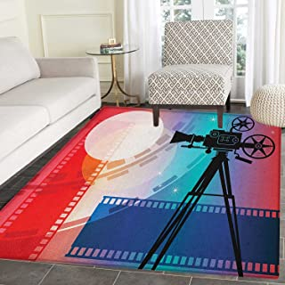 Cinema Area Rug Carpet Colorful Projector Silhouette with Movie Reel Vintage Design Entertainment Theme Living Dining Room Bedroom Hallway Office Carpet 5'x6' Multicolor