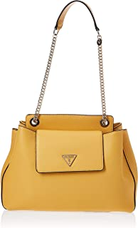 Guess Sandrine Shoulder Satchel Bag For Women, Yellow