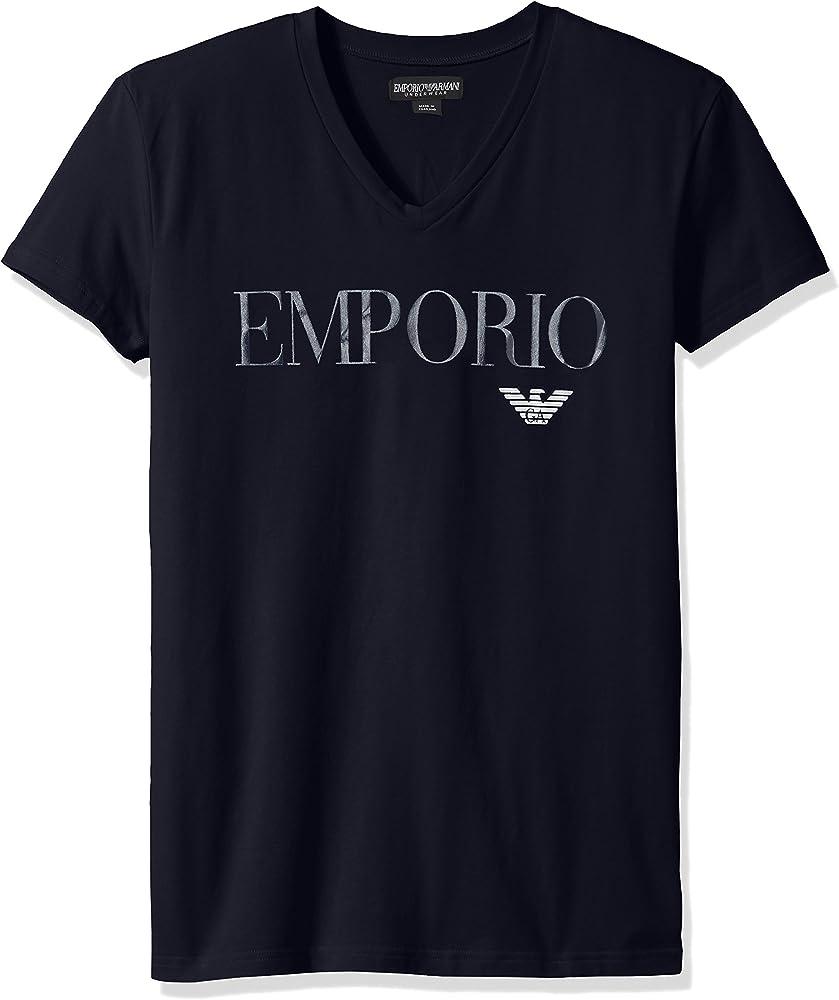 Emporio armani, t-shirt,MAGLIETTA PER uomo manica corta, scollo a v,95% cotone, 5% elastan 36524