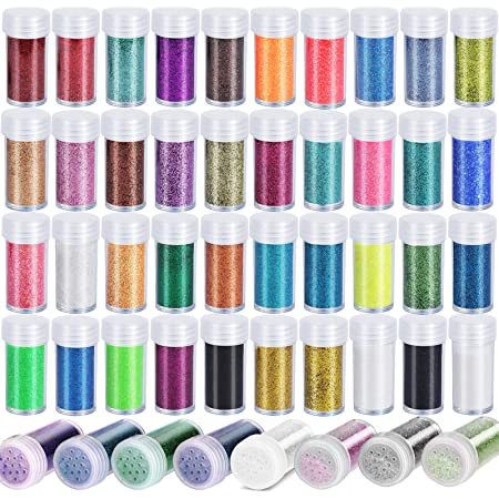 Teenitor 48 Colors Glitter Set, Fine Glitter for Resin, Arts and Craft Supplies Glitter, Festival Glitter Makeup Glitter, Cosmetic Glitter for Body Nail Face Hair Eyeshadow Lip Gloss Making