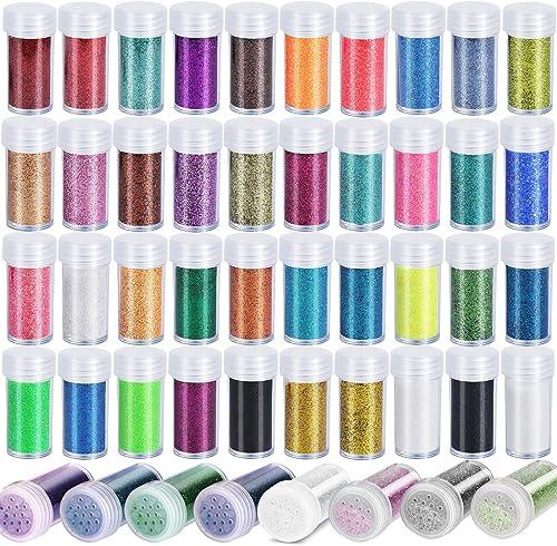 Teenitor 48 Colors Glitter Set, Fine Glitter for Resin, Arts and Craft Supplies Glitter, Festival Glitter Makeup Glit...