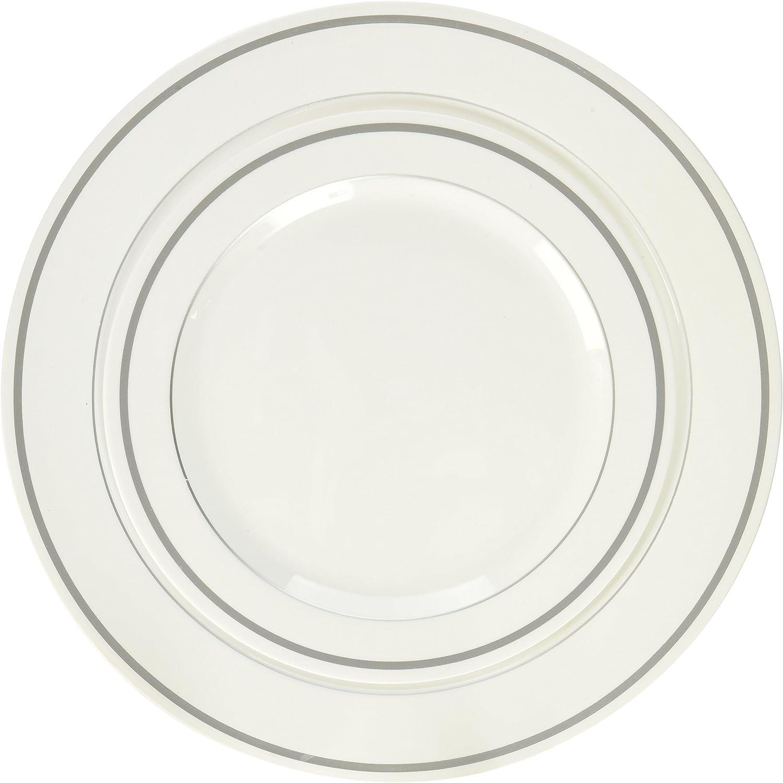 Blau Sky Premium Quality Heavyweight Plates, Weiß with Silber Border