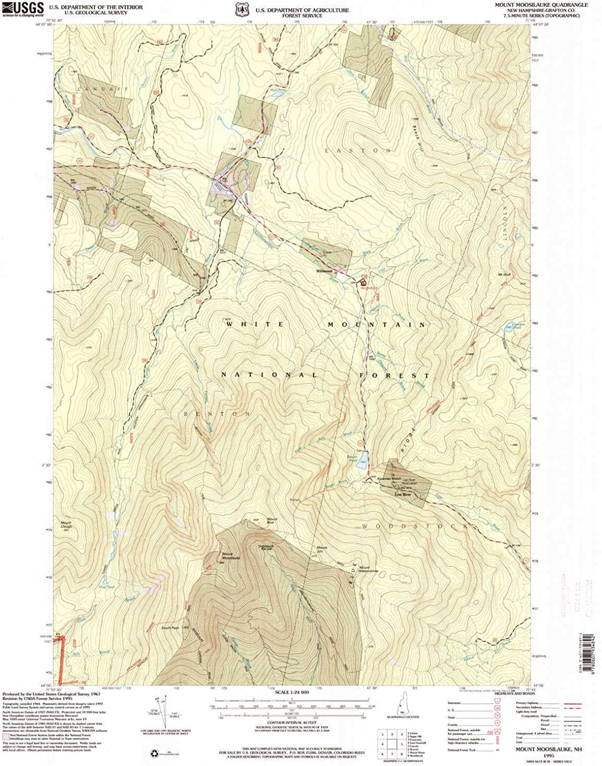 Mount Moosilauke NH topo map, 1 24000 Scale, 7.5 X 7.5 Minute, Historical, 1995, Updated 2000, 26.8 x 22 in