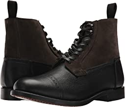 Black Multi Waxed Pebbled Leather/Oiled Suede