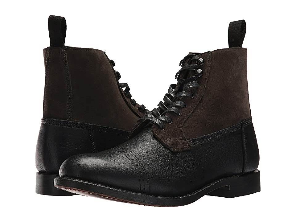 Frye Garrison Boot (Black Multi Waxed Pebbled Leather/Oiled Suede) Men