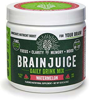 BrainJuice Brain Booster Daily Drink Mix, Watermelon | Supplement for Improved Energy, Memory, Focus, Clarity & Mood, Gluten-Free, Non-GMO | 30 Servings