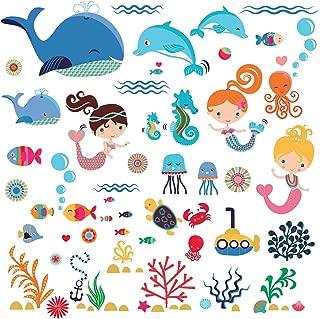 Playful Mermaids Decorative Peel & Stick Wall Art Sticker Decals for Kids Room Girls Room Nursery