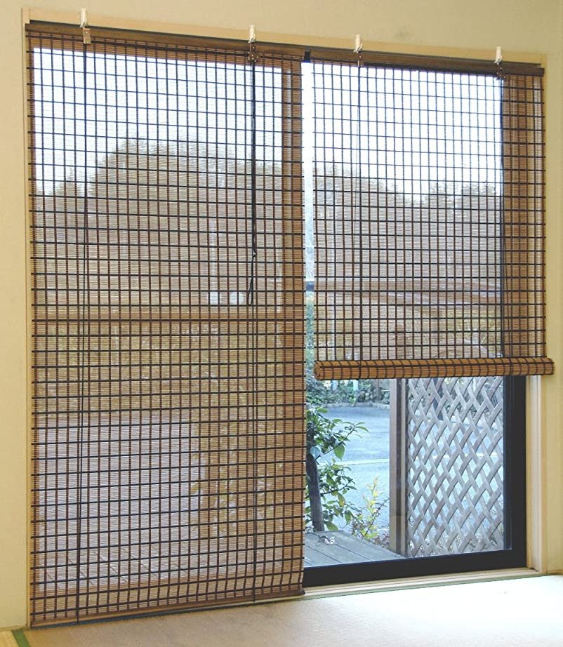 元気ドアミラー甘美なロールスクリーン 天然竹 バンブー ビレッジ 88×135cm 1枚