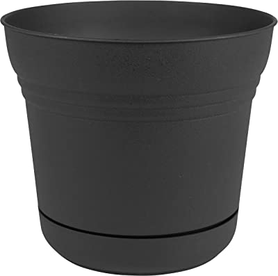 "Bloem Saturn Planter with Saucer, 12"", Black (SP1200)"