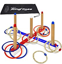 Deluxe Ring Toss Game Set - Outdoor Kids & Adults Toss Game – Includes 16 Rings, 8 Rope & 8 Plastic. Carry Bag Included - Easy to Assemble - Fun Family and Friends Game