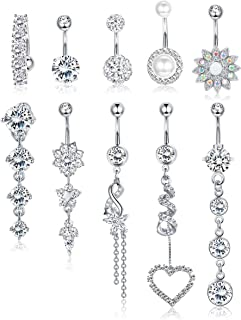 10 PCS Belly Button Rings For Women Girls Navel Rings Surgical Steel 14 g Body Jewelry for Women Piercings Belly