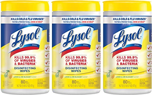 Lysol Disinfectant Wipes Multi-Surface Antibacterial Cleaning Wipes For Disinfecting and Cleaning Lemon and Lime Blossom 240 Count (Pack of 3)