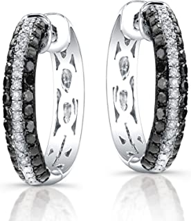 f0d584772 Victoria Kay 1/3ct Black and White Diamond Hoop Earrings in Sterling Silver  (J