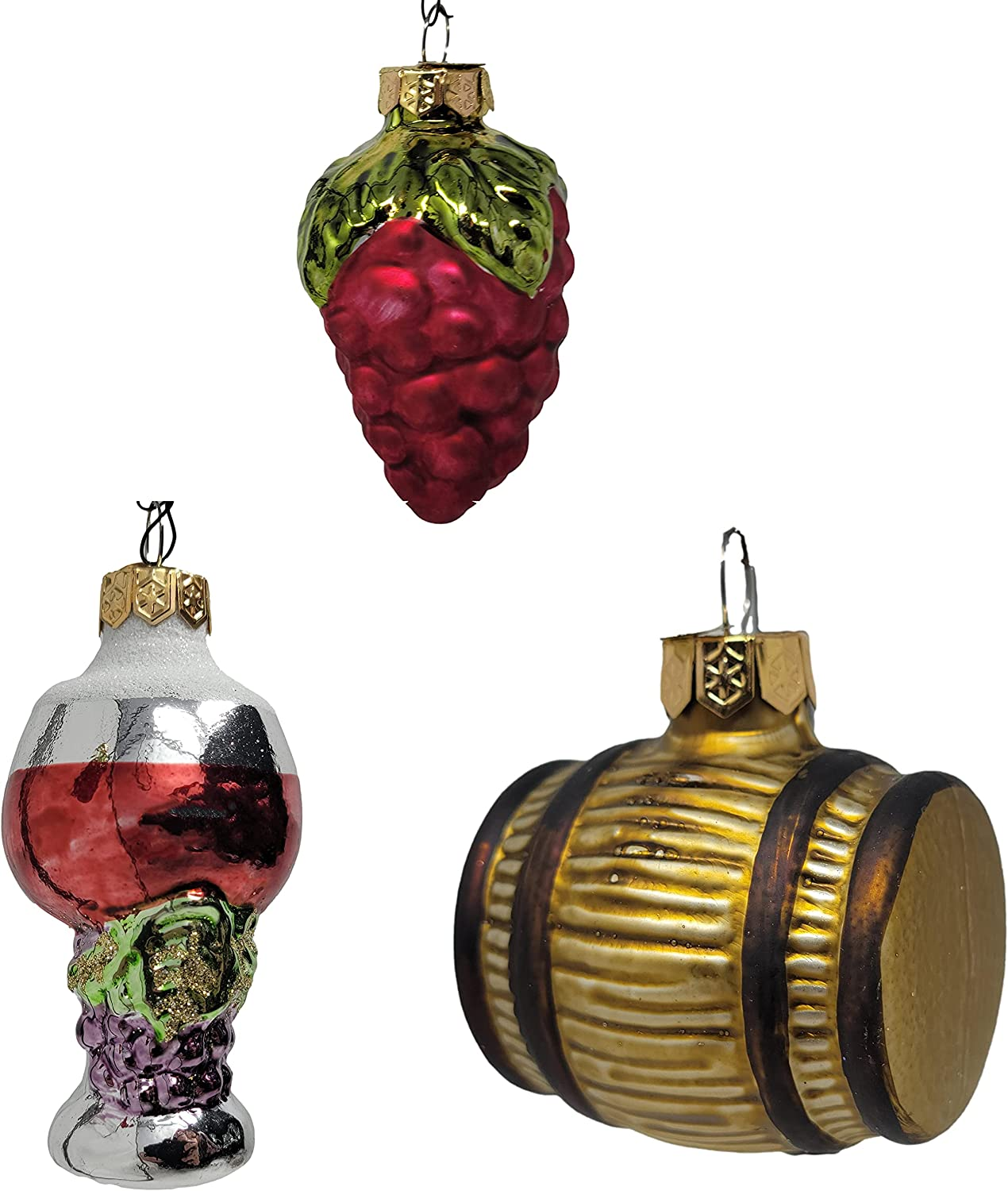MY SWANKY HOME Luxe Glass Wine Barrel Grapes Ornament Set 3 Vineyard Old World Vintage Style