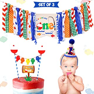 3-In-1 Gone Fishing First Birthday Party Decorations- Little Fisherman Highchair Banner The Big One Hat O