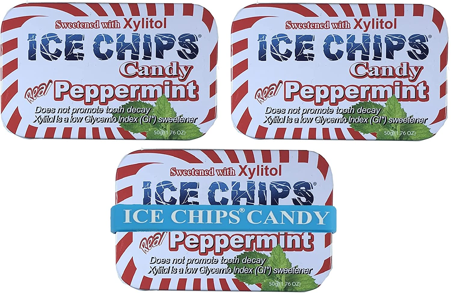 2021 autumn and winter new San Antonio Mall ICE CHIPS Xylitol Candy Tins Peppermint Pack BAN - Includes 3