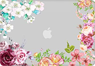 AOGGY MacBook Air 13 Inch Case 2018 Released The Latest Model: A1932 ,with Touch ID ,Retina Display, Floral Design Pattern Ultra-Thin Clear Smooth Material Plastic Coated Hard Shell - Rose 746