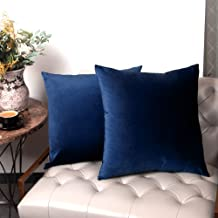 GuildreyTex Blue Pillow Covers, Cozy Velvet Square Throw Pillow Cover, Soft Solid Decorative Cushion Pillowcases for Couch, Bed and Car, 16 x 16 Inches, Pack of 2