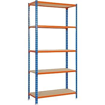 Estantería metálica sin tornillos Maderclick de 5 estantes Azul/Naranja/Madera Simonrack 2000x1000x500 mms - Estantería con aglomerado - Estantería para despensa - 150 Kgs de capacidad por estante: Amazon.es: Bricolaje y herramientas