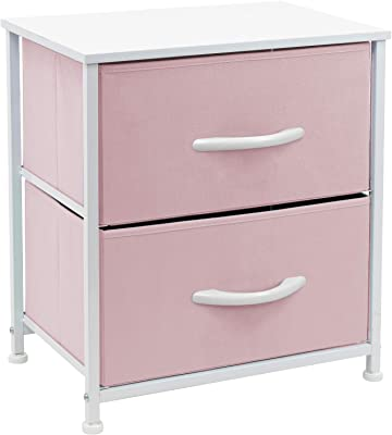 Sorbus Nightstand with 2 Drawers - Bedside Furniture & Accent End Table Chest for Home, Bedroom Accessories, Office, College Dorm, Steel Frame, Wood Top, Easy Pull Fabric Bins (2-Drawer, Pastel Pink)