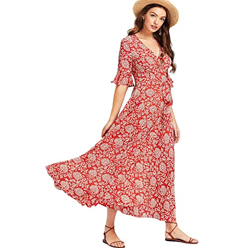 Milumia Women s Boho Deep V Neck Floral Chiffon Wrap Split Long Maxi Dress c4ca35008