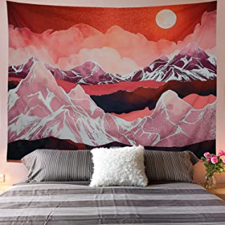 Mountains Tapestry Abstract Sunset Tapestry Red Nature Landscape Wall Hanging Tapestries for Room H51.2× W59.1inches