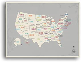 USA Wall Map Art Print, 24x18 Inches,Kid's USA Wall Map,Children's Room Decor, Gender Neutral, Travel Nursery Decor,United States of America Map, Capital Cities