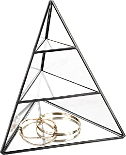 MyGift 3-Tier Glass Pyramid Jewelry Stand Display Case with Vintage Style Black Metal Frame