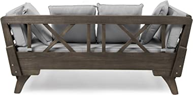 Christopher Knight Home Othello Outdoor Grey Finished Acacia Wood Daybed with Light Grey Water Resistant Cushions