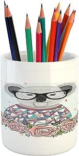 Lunarable Koala Pencil Pen Holder, Abstract Koala Bear Design with Polygonal Patterned Dress Hipster Glasses Rose Frame, Printed Ceramic Pencil Pen Holder for Desk Office Accessory, Multicolor