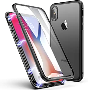 iPhone Xs MAX Case, ZHIKE Magnetic Adsorption Case Front and Back Tempered Glass Full Screen Coverage One-Piece Design Flip Cover [Support Wireless Charging] for Apple iPhone Xs MAX (Clear Black)