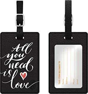 OTM Essentials All You Need Is Love White Leather Bag Tag, Black